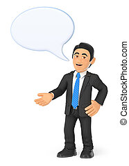 3D Businessman with a speaking bubble - 3d business people...