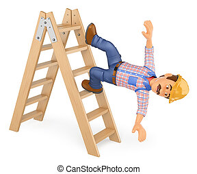 3D Electrician falling off a ladder. Work accident