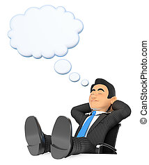 3D Businessman sleeping with feet up and thinking bubble -...