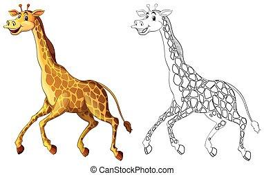 Doodles drafting animal for giraffe running