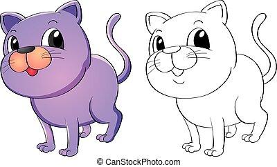 Animal doodle outline for kitten