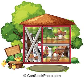 Chickens in big coop illustration