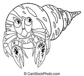 Animal doodle outline for hermit crab illustration