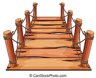 Wooden bridge with rope attached illustration