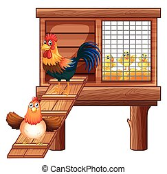 Chicken and chicks in coop illustration