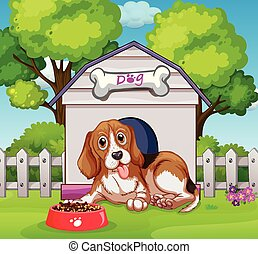 Puppy living in doghouse illustration