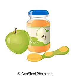 Glass jar of puree with spoon and green apple near - Glass...
