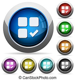 Component ok round glossy buttons - Component ok icons in...
