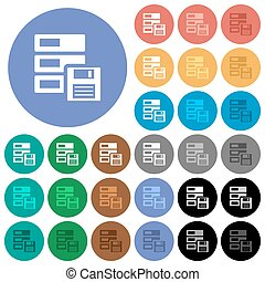 Data backup round flat multi colored icons - Data backup...