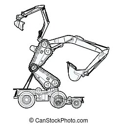 Bizarre outlined machine robot build from ground works...