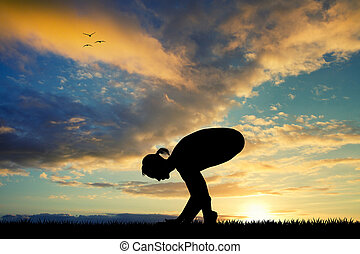 yoga pose  at dawn