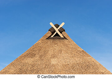Thatched Roof with modern Gable Decoration in Lower Saxony -...