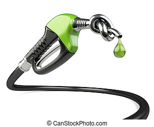 Gas nozzle pump with knot and drop. 3D illustration isolated...