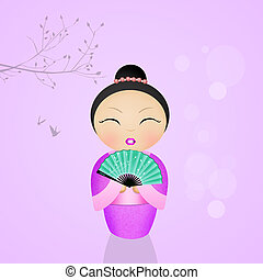 illustration of kokeshi doll - cute illustration of kokeshi...
