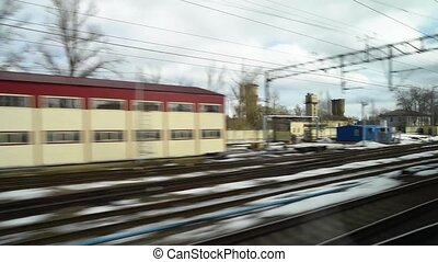 View from the window of a fast moving train - View from a...