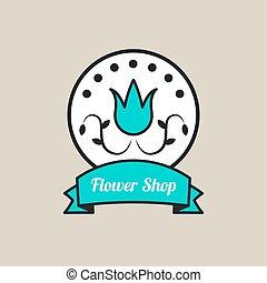 Round logo of flower shop