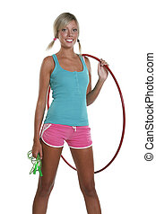 Woman with hula hoop - Young woman with the hula hoop...