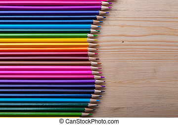 Bright crayons background with copyspace - Multicolored...