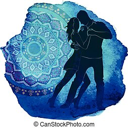 Silhouette of a dancing couple.
