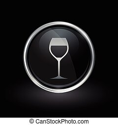 Wine glass icon inside round silver and black emblem -...
