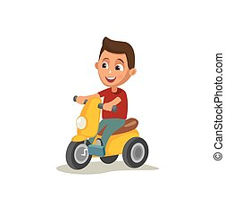 Little boy riding tricycle. Color vector illustration...