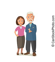 Happy senior couple. Color vector illustration isolated on...