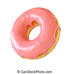 Chocolate donut or doughnut 3d rendering