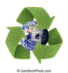 real grass recycle symbol with globe