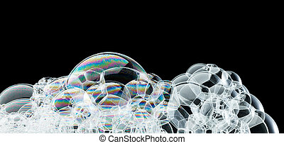 bubbles in abstract shape against black background