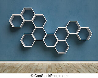 Empty interior with hexagon shelves on the wall 3d rend