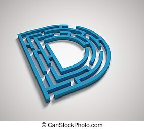 Maze font letter D isolated illustration