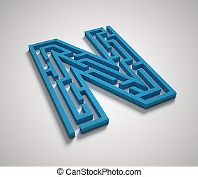 Maze font letter N isolated illustration