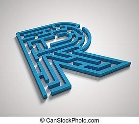 Maze font letter R isolated illustration