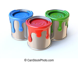 Paint cans 3d rendering