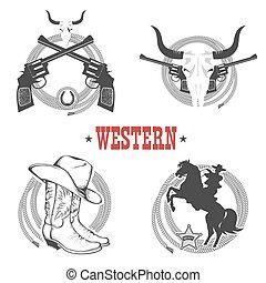 set of Cowboy symbols and labels.