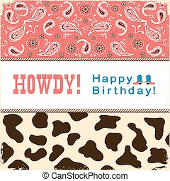Cowboy happy birthday card with text.Vector child card