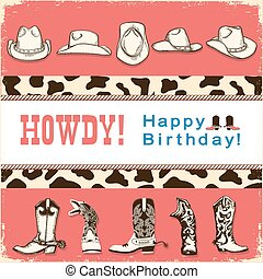 Cowboy happy birthday card with western hats and boots.Vector child card