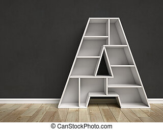 Letter A shaped shelves 3d rendering