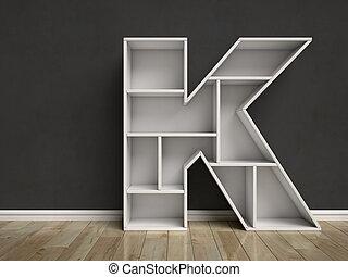 Letter K shaped shelves 3d rendering