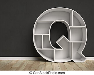 Letter Q shaped shelves 3d rendering