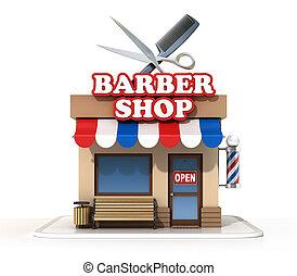 loja, fazendo, barbeiro,  3D