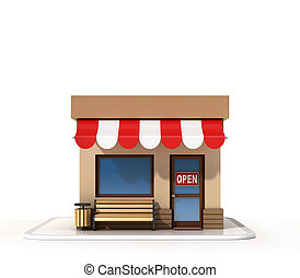 Store front 3d rendering isolated illustration