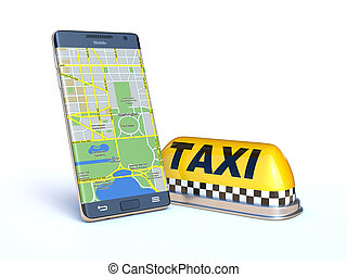 Mobile phone with taxi sign
