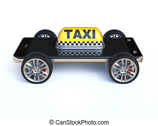 Mobile phone with taxi sign and wheels