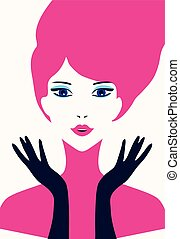 Stylish beautiful model for fashion design. Pop art graphic...
