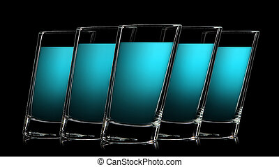 Set of colorful glasses for shot on black - Set of colorful...