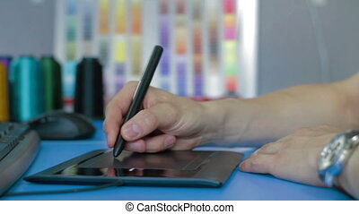 Designer working with Drawing tablet for computer - Designer...