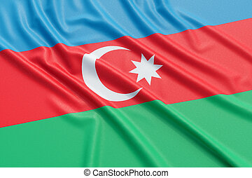 Azerbaijan flag. Wavy fabric high detailed texture. 3d...