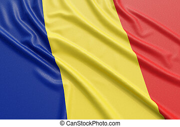 Romania flag. Wavy fabric high detailed texture. 3d...