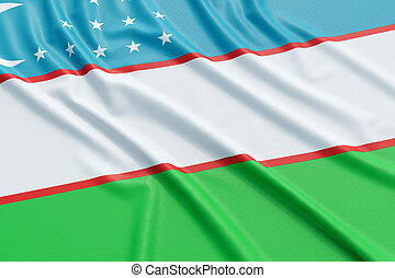 Uzbekistan flag. Wavy fabric high detailed texture. 3d...